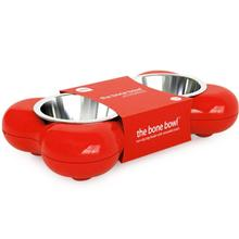 Hing Bone Non-Slip Dual Dog Feeding Station with Removable Bowls - Red