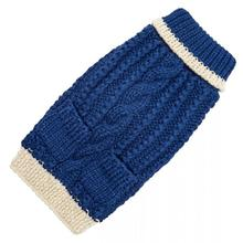 Hand Knit Dog Sweater by Up Country - Navy Classic Cable