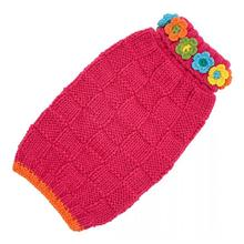 Hand Knit Dog Sweater by Up Country - Pink Floral Basketweave