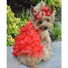Holiday Dog Harness Dress by Doggie Design - Red Satin