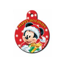 Holiday Large Circle Engravable Pet I.D. Tag - Mickey & Presents