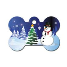 Holiday Large Bone Engravable Pet I.D. Tag - Snowman
