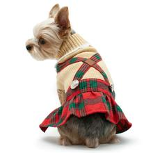 Holiday Plaid Dog Sweater Dress by Dogo