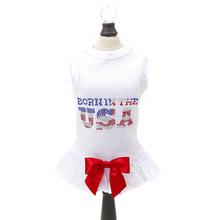 Hello Doggie Born in the USA Dog Dress - White