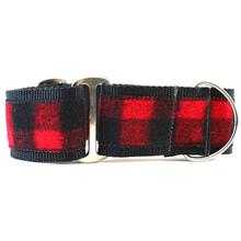 Buffalo Plaid Wide Martingale Dog Collar by Diva Dog - Sierra Red