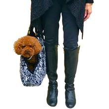 Hollywood Fur-lined Dog Tote Carrier - Black Spotted Leopard