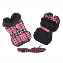 Plaid Fur-Trimmed Dog Harness Coat by Doggie Design - Hot Pink and Black