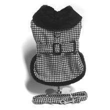 Houndstooth Fur-Trimmed Dog Harness Coat by Doggie Design