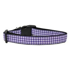 Houndstooth Nylon Dog Collar - Purple