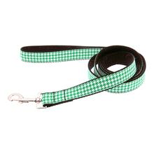 Houndstooth Nylon Dog Leash - Emerald Green