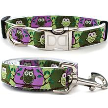 H'Owl Grape and Avocado Dog Collar and Leash Set by Diva Dog