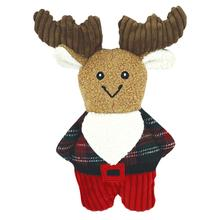 HuggleHounds Holiday Corduroy Cookie Shaped Dog Toy - Flannel Shirt Moose