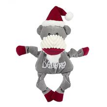 HuggleHounds Holiday Knottie Dog Toy - Believe Sock Monkey