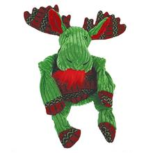 HuggleHounds Holiday Knottie Dog Toy - Green Moose with Sweater