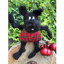 HuggleHounds Holiday Totally Tartan Knottie Dog Toy - Whiskey the Scottie