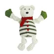 HuggleHounds Holiday Knotties Dog Toy - Polar Bear with Striped Sweater