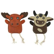 HuggleHounds Naturals Wee Buddie Dog Toy - Moose and Cow