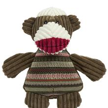 HuggleHounds Sock Monkey Chubbie Buddie Dog Toy - Brown