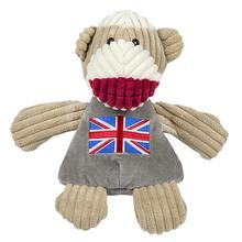 HuggleHounds Sock Monkey Chubbie Buddie Plush Dog Toy - Union Jack