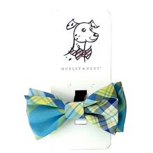 Huxley & Kent Dog and Cat Bow Tie Collar Attachment - Turquoise Madras