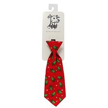 Huxley & Kent Holiday Long Tie Collar Attachment Dog Necktie - Fur Trees