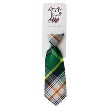 Huxley & Kent Long Tie Collar Attachment Dog Necktie - Green Madras