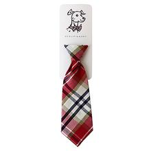 Huxley & Kent Long Tie Collar Attachment Dog Necktie - Red Madras