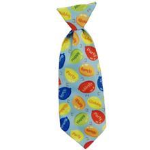 Huxley & Kent Party Time Long Tie Collar Attachment Dog Necktie - Blue