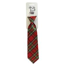 Huxley & Kent Long Tie Collar Attachment Dog Necktie - Red Plaid Lurex