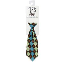 Huxley & Kent Long Tie Collar Attachment Dog Necktie - Teal Argyle