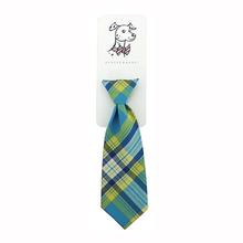 Huxley & Kent Long Tie Collar Attachment Dog Necktie - Turquoise Madras