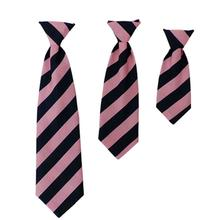 Huxley & Kent Winston Long Tie Collar Attachment Dog Necktie - Pink and Blue Stripe