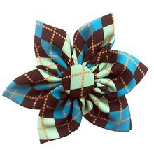 Huxley & Kent Pinwheel Dog and Cat Collar Attachment - Teal Argyle