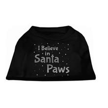 I Believe in Santa Paws Screen Print Dog Shirt - Black