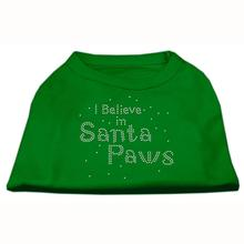 I Believe in Santa Paws Screen Print Dog Shirt - Green