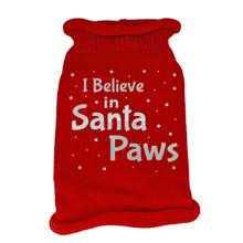 I Believe in Santa Paws Screen Print Knit Dog Sweater - Red