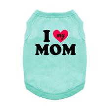 I Heart My Mom Dog Shirt - Teal