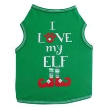 I Love My Elf Dog Tank Top - Green