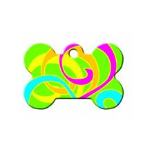 Neon Color Swirls Bone Large Engravable Pet I.D. Tag