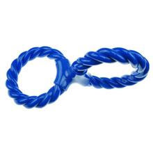 Infinity TPR Rope Double Ring Twist Dog Toy - Blue