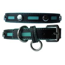 Inlaid Leather Dog Collar by Cha-Cha Couture - Black with Blue