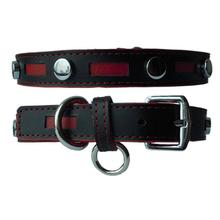 Inlaid Leather Dog Collar by Cha-Cha Couture - Black with Red