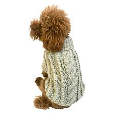 Irish Isle Hand-knit Mock Turtleneck Dog Sweater - Silver