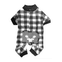 Jackson Moose Head Dog Pajamas - Cream/Gray Checkered