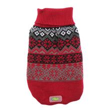 Jacquard Turtleneck Dog Sweater by Go Fresh Pet - Red