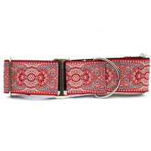 Kashmir Wide Martingale Dog Collar by Diva Dog - Empress Red