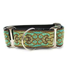 Kashmir Wide Martingale Dog Collar by Diva Dog - Turkish Teal