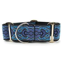 Kashmir Wide Martingale Dog Collar by Diva Dog - Peacock Blue
