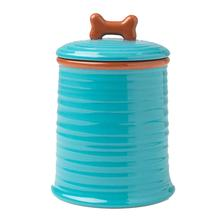 Key West Embossed Dog Treat Jar - Aqua