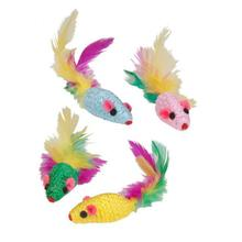 Kylie's Brights Feather Rattler Mice Cat Toy - 4 Pack